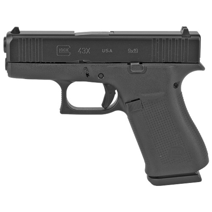 "Glock 43X USA Sub-Compact 9mm 3.41"" - (2) 10 Round Magazines"