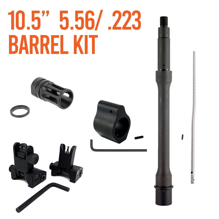 """Barrel Kit AR15 / M4 10.5"""" Carbine Length With Gas System and Sights"""