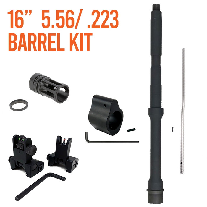 """Barrel Kit AR15 / M4 16"""" Carbine Length With Gas System and Sights"""