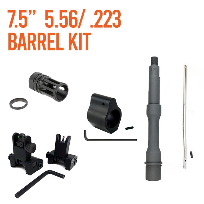 """Barrel Kit AR15 / M4 7.5"""" Pistol Length With Gas System and Sights"""