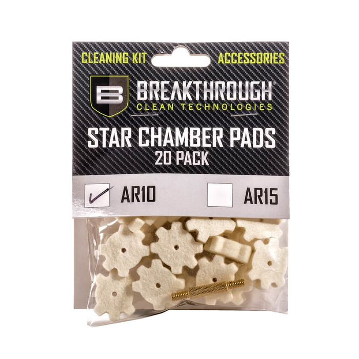 Breakthrough AR-10 Star Chamber Pad - 20 Pack with 8-32 thread (male / male) adapter