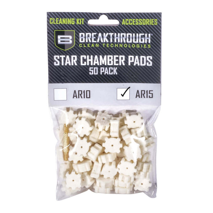 Breakthrough AR-15 Star Chamber Pad - 50 Pack with 8-32 thread (male / male) adapter
