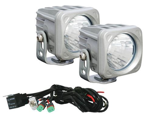 "Optimus 3"" Square Silver 10W LEDs 20° Flood Beam (Kit, 2 Lights)"