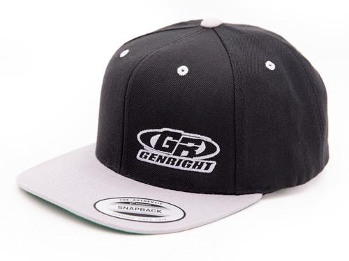 GenRight Logo Premium 6-Panel Snapback Cap (Black/Grey)