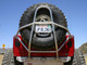 """GenRight's Swing Down Tire Carrier for the Jeep CJ pictured with a 42"""" tire"""