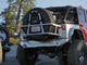 """GenRight Off Road's Swing Out Rear Tire Carrier Shown with a 40"""" Goodyear MT/R and optional bag."""
