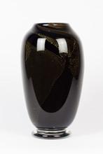 Black with Gold Leaf Art Glass Vase