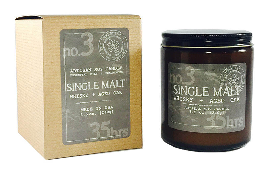 single malt - whisky + aged oak essential oil and premium fragrance scented soy candle with  crackling wood wick