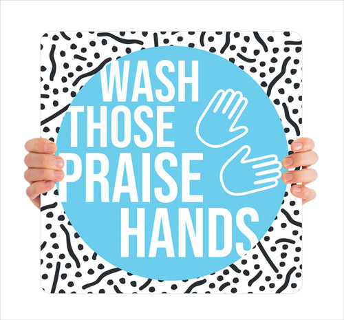 COVID ReOpen Handheld - Style 1 - Praise Hands Blue