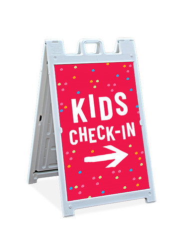 Sandwich Sign - Kids Check-In Dots 2