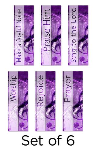 Set of 6 Purple Concrete Church Banners