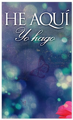 He Aqui Yo Hago - Blue New Years banner in Spanish