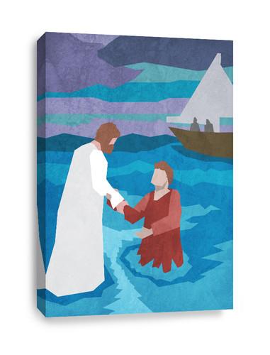 Church canvas print - Jesus walks on water