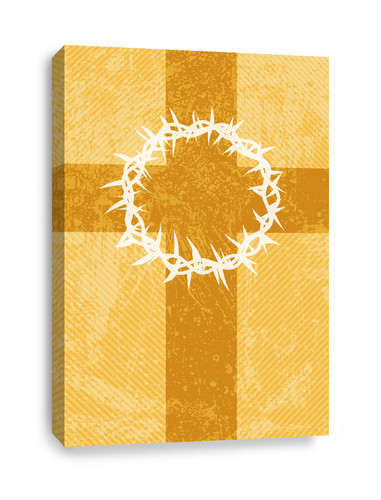 Gold striped Canvas Print of thorns and cross