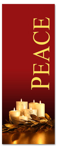 Peace - gold and red 3x8 Christmas banner