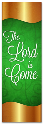 Gold and Green Christmas banner - The Lord is Come