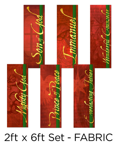Red Fabric Christmas Banner set of 6
