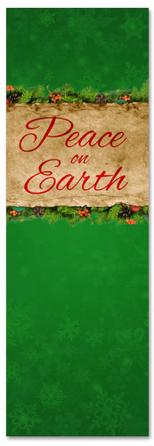 Peace on Earth Green Christmas banner for churches