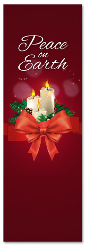 Candles church Christmas banner - Peace on Earth
