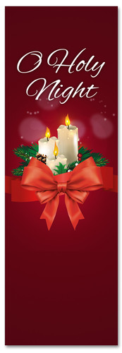 Candles Christmas banner for churches - O Holy Night