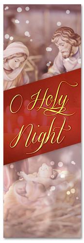Nativity scene Christmas church banner - O Holy Night