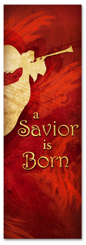 The Savior is Born - Red Christmas church banner