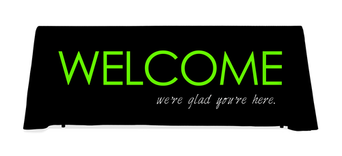 Black with lime green Welcome table throw