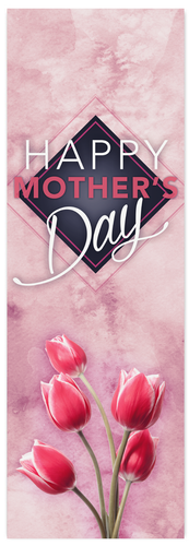 Mothers Day Banner with Pink Tulips