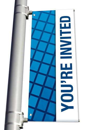 DS Light Pole Banner - Blue Squares You're Invited