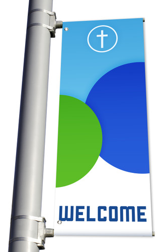 DS Light Pole Banner - Circles Blue Green Welcome