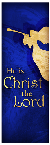Church Christmas Banner - blue angel 4