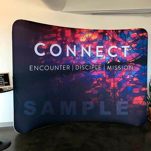 custom curved backdrop display
