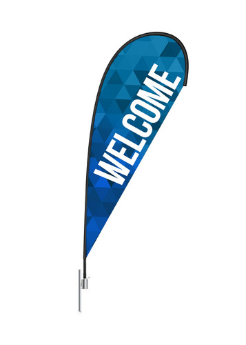 Teardrop Flag - Welcome Blue Triangles