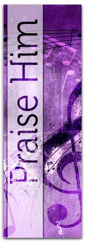 Praise Him Worship Banner - Purple musical notes