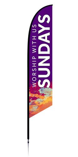 Feather Banner - Purple Splash - Sundays