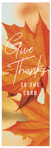 Fall Banner orange leaf give thanks