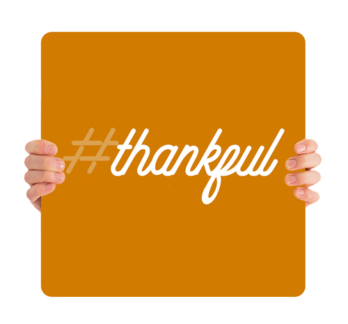 Modern Orange White Script #thankful - FHH011