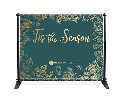 Teal Gold Leaf Backdrop - Tis the Season - CBB004