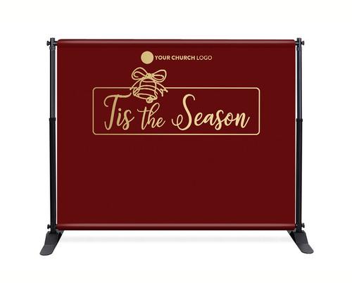 Red Gold Bell Backdrop - Tis the Season - CBB018
