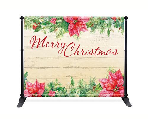 Poinsettia Backdrop - Merry Christmas - CBB036