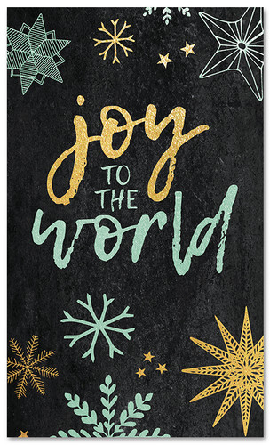 Gold Blue Snowflakes - Joy to the World - CB018 xw