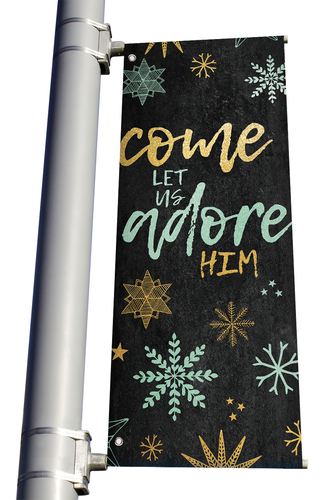 Blue Gold Snowflakes Come Let Us Adore Him Light Pole banner Christmas
