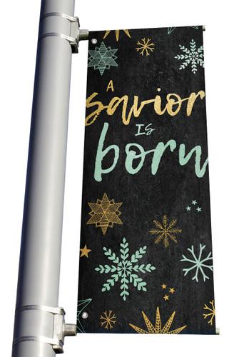 Blue Gold Snowflakes A Savior is Born Light Pole banner Christmas