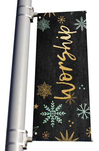 Blue Gold Snowflakes Worship Light Pole banner Christmas