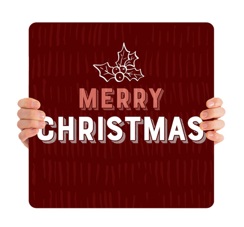 Burgundy Texture Holly - Merry Christmas - CHH029