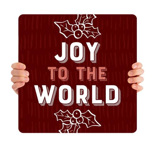 Burgundy Texture Holly - Joy to the World - CHH030