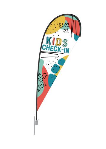 Teardrop Flag Kids Color Block 2 - Check In