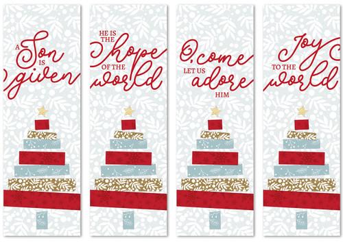 set of 4 fabric Christmas banners