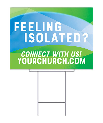 Yard Sign Feeling Isolated blue green
