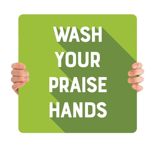 COVID ReOpen Handheld - Style 5 - Praise Hands Green